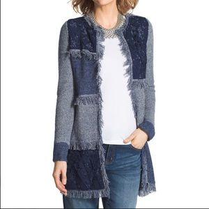 Chico's Blocked Lace DENALIA Cardigan Sweater Med